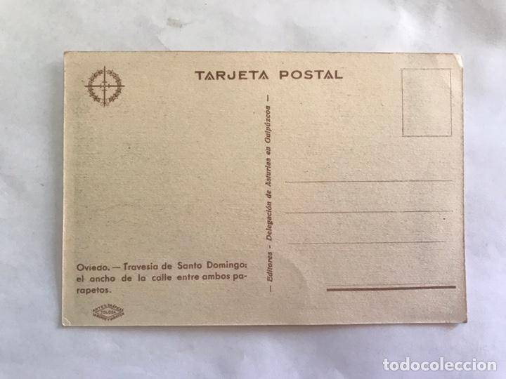 Postales: OVIEDO. Guerra civil. Postal, Travesía de Santo Domingo: el ancho de la calle entre ambos parapetos - Foto 2 - 155690848