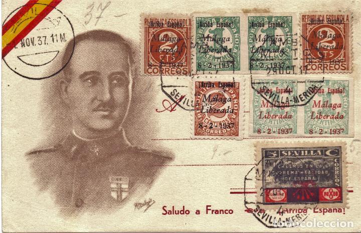 TARJETA POSTAL PATRIOTICA GENERAL FRANCO NOVIEMBRE 1937 GUERRA CIVIL (Postales - Postales Temáticas - Guerra Civil Española)