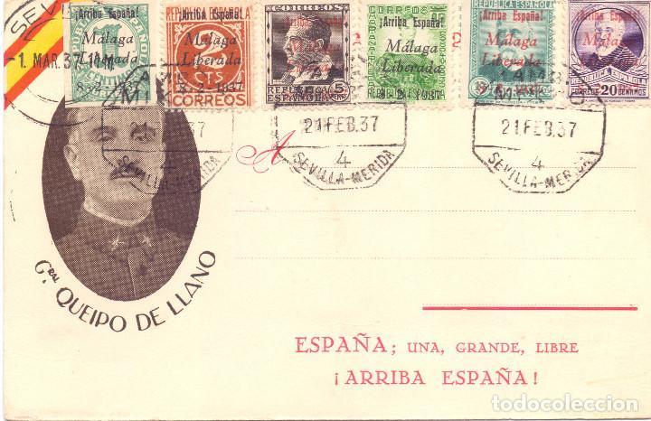 TARJETA POSTAL PATRIOTICA GENERAL QUEIPO DE LLANO SEVILLA MARZO 1937 GUERRA CIVIL (Postales - Postales Temáticas - Guerra Civil Española)
