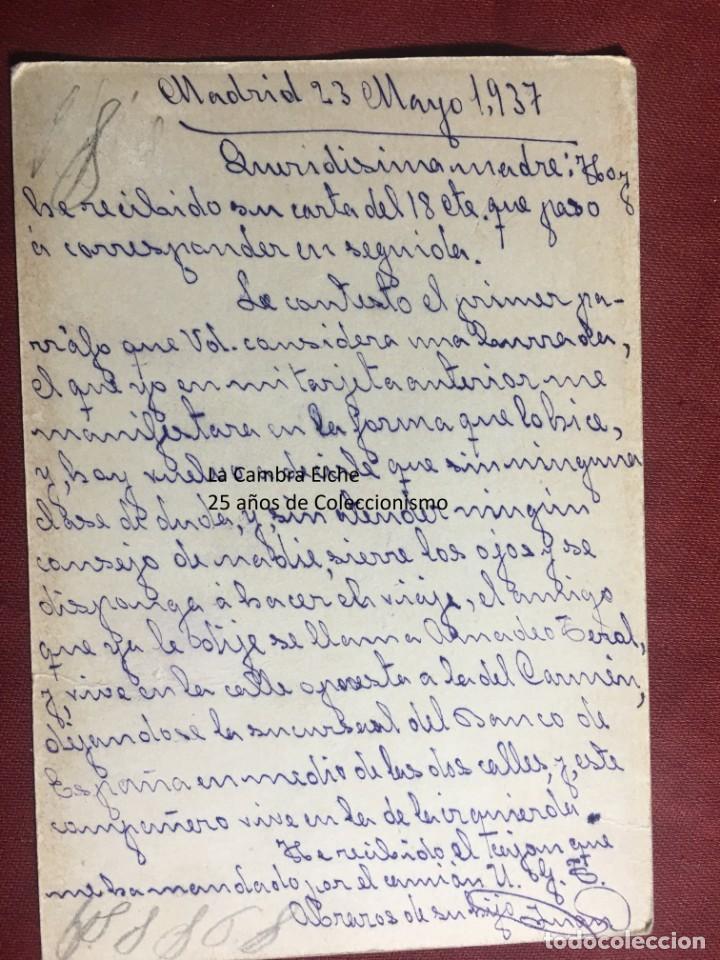 Postales: TARJETA POSTAL DE CAMPAÑA 1937 PLENA GUERRA CIVIL PSOE AGRUPACION SOCIALISTA MADRILEÑA ELCHE MADRID - Foto 2 - 156764042