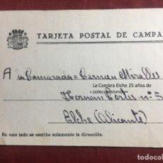 Postcards - TARJETA POSTAL DE CAMPAÑA 1937 PLENA GUERRA CIVIL PSOE AGRUPACION SOCIALISTA MADRILEÑA ELCHE MADRID - 156850786