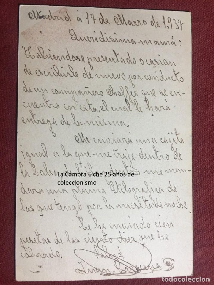 Postales: TARJETA POSTAL DE CAMPAÑA 1937 PLENA GUERRA CIVIL PSOE AGRUPACION SOCIALISTA MADRILEÑA ELCHE MADRID - Foto 2 - 156852046