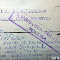 Postales: (JX-190376)TARJETA POSTAL , CENSURA MILITAR TOLOSA , CAFE RESTAURAN ANDIA ,GREGORIO IRASTORZA .. Lote 156926762