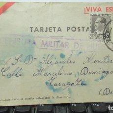 Postales: HUESCA CENSURA MILITAR. GUERRA CIVIL 16 2 1937 ANTIGUA TARJETA POSTAL. Lote 157988478
