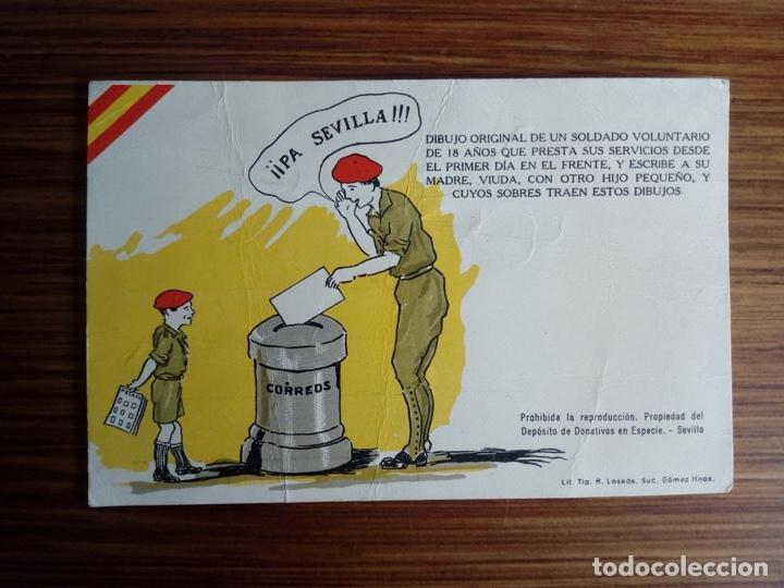 PA SEVILLA CORREOS GUERRA CIVIL CARTERO SOLDADO ABRIL DE 1938 MUY RARA REQUETE TERCIO BORGOÑA (Postales - Postales Temáticas - Guerra Civil Española)