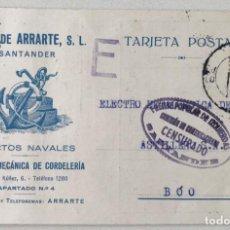 Postales: TARJETA HIJOS DE ARRARTE (SANTANDER) - CENSURA FRENTE POPULAR DE IZQUIERDAS - AÑO 1936. Lote 162380618