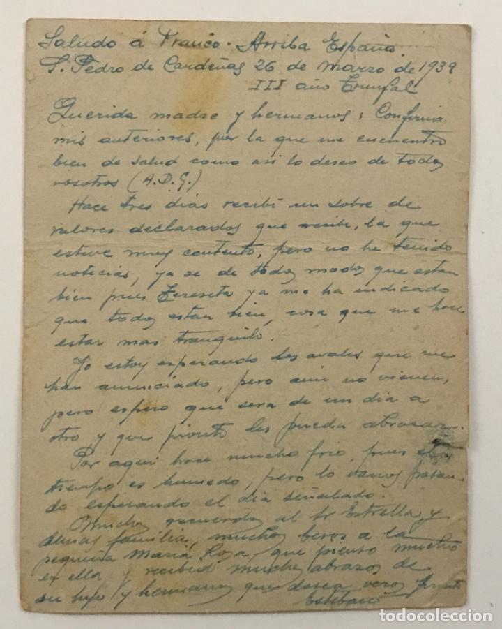 Postales: CENSURA MILITAR CAMPO DE CONCENTRACIÓN CAMPO DE SAN PEDRO DE CARDEÑAS (BURGOS) 26 MARZO 1939 - Foto 2 - 162910974