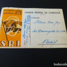 Postales: TARJETA POSTAL DE CAMPAÑA SOCORRO ROJO INTERNACIONAL REPUBLICA ESPAÑOLA ESCRITA EN CAMPAÑA MAYO 38. Lote 164761418
