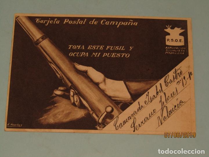TARJETA POSTAL DE CAMPAÑA PSOE AGRUPACIÓN SOCIALISTA MADRILEÑA DE PLENA GUERRA CIVIL - VALLECAS 1937 (Postales - Postales Temáticas - Guerra Civil Española)