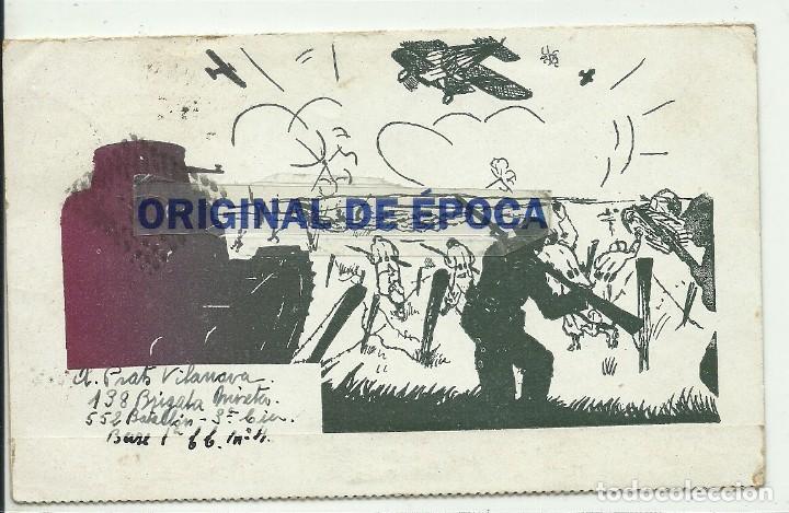 (XJ-190611)POSTAL ILUSTRADA GUERRA CIVIL - RET.138 BRIGADA MIXTA - 552 BATALLON - ESCRITA (Postales - Postales Temáticas - Guerra Civil Española)