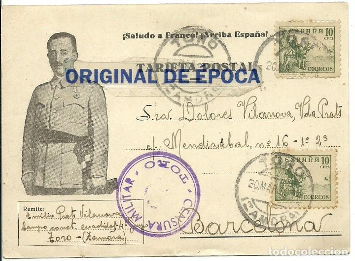 (XJ-190615)POSTAL CAMPO DE CONCENTRACION DE TORO(ZAMORA)-PRISIONERO REPUBLICANO.CENSURA (Postales - Postales Temáticas - Guerra Civil Española)