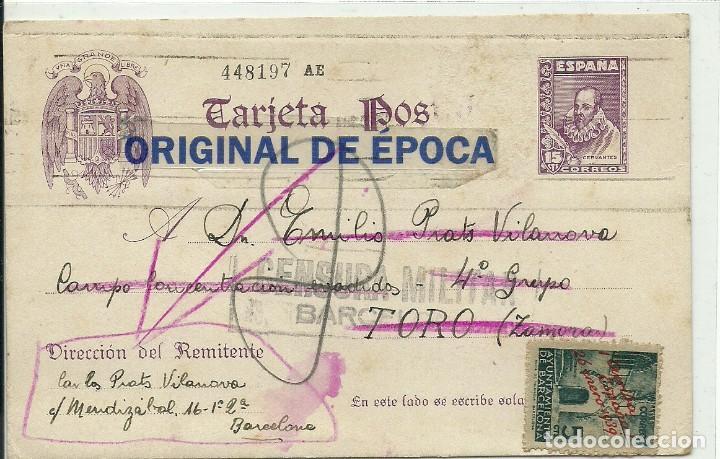 (XJ-190630)TARJETA POSTAL ENVIADA AL CAMPO DE CONCENTRACION DE EVADIDOS DE TORO(ZAMORA)-GUERRA CIVIL (Postales - Postales Temáticas - Guerra Civil Española)
