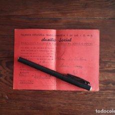 Postales: FALANGE ESPAÑOLA JONS AUXILIO SOCIAL CITACIÓN SERVICIO SOCIAL VALENCIA 1941. Lote 168311708