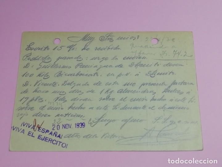 Postales: Tarjeta postal Antigua Censura Militar Año 1939.. - Foto 2 - 168655058
