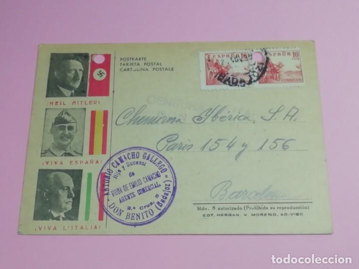 TARJETA POSTAL ANTIGUA CENSURA MILITAR AÑO 1939.. (Postales - Postales Temáticas - Guerra Civil Española)