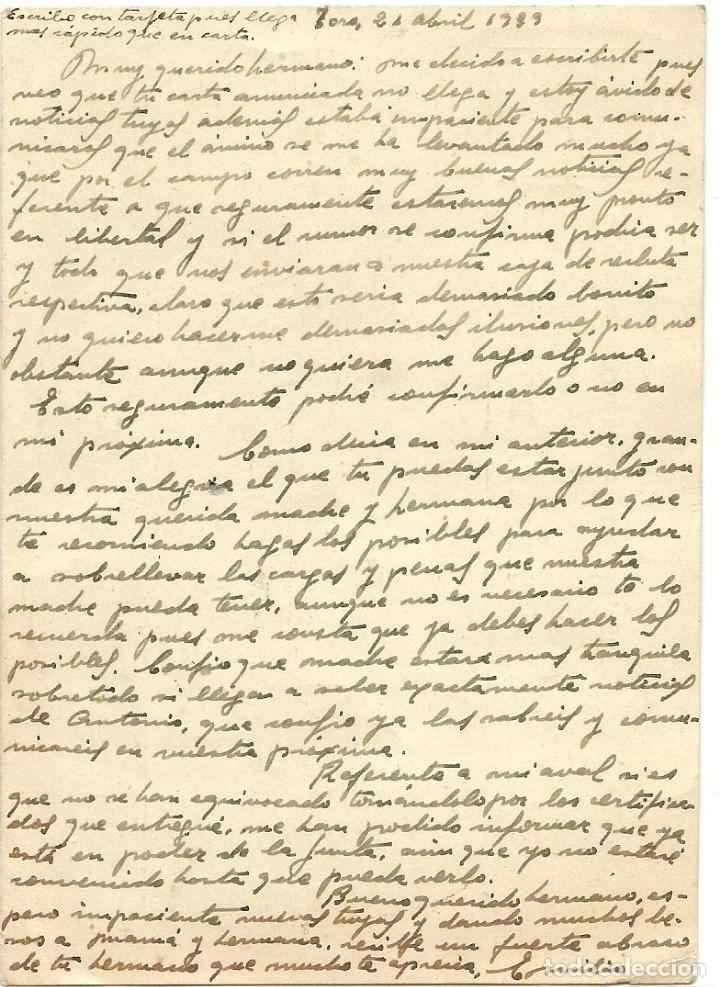 Postales: (XJ-190669)POSTAL CAMPO DE CONCENTRACION DE TORO(ZAMORA)-PRISIONERO REPUBLICANO.CENSURA - Foto 3 - 169288296