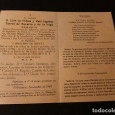 Postales: RECORDATORIO FALLECIMIENTO GUERRA CIVIL REQUETÉ ALFEREZ PROVISIONAL FRENTE DEL EBRO 1938 GUERRA CIVI. Lote 171324575