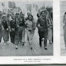 Postales: ZARAGOZA- VOLUNTARIOS Y MILICIANAS -1936-GUERRA CIVIL-RECORTE REVISTA(FOTO KEYSTONE. Lote 171341362