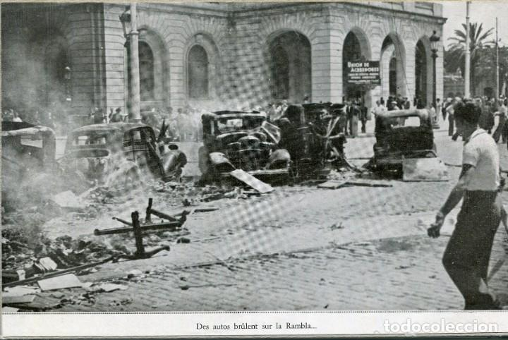 BARCELONA-AUTOS QUEMADOS EN LA RAMBLAS DELANTE EDIFICIO CAPITANIA-GUERRA CIVIL-RECORTE REVISTA (Postales - Postales Temáticas - Guerra Civil Española)