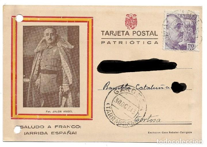 TARJETA POSTAL PATROTICA .- SALUDO A FRANCO !! ARRIBA ESPAÑA !! (Postales - Postales Temáticas - Guerra Civil Española)