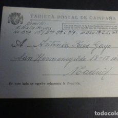 Postales: TARJETA POSTAL DE CAMPAÑA GUERRA CIVIL BANDO REPUBLICANO 1938. Lote 172059212