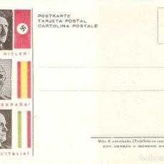 Postales: POSTAL FRANCO HITLER Y MUSSOLINI COLABORACIÓN SEGUNDA GUERRA MUNDIAL SIN CIRCULAR. Lote 174137465