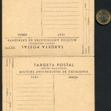 Postales: GUERRA CIVIL, TARJETA POSTAL DOBLE, MILÍCIES ANTIFEIXISTES DE CATALUNYA. Lote 175359513