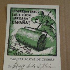 Postales: TARJETA POSTAL DE GUERRA. DESPUÉS DE ESTO QUE BIEN QUEDARÁ ESPAÑA. ESCRITA EN 1938. SIN CIRCULAR.. Lote 176685439