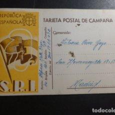 Postales: TARJETA POSTAL DE CAMPAÑA GUERRA CIVIL SOCORRO ROJO INTERNACIONAL REPUBLICA ESPAÑOLA 1938 . Lote 178622531