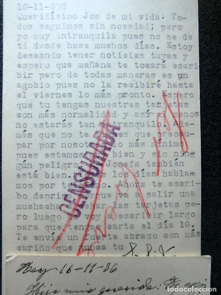 Postales: (JX-191088)LOTE DE 82 TARJETAS POSTALES GUERRA CIVIL.REMITIDAS A JOSE LUIS VAZQUEZ DODERO,PERIODISTA - Foto 41 - 178722716
