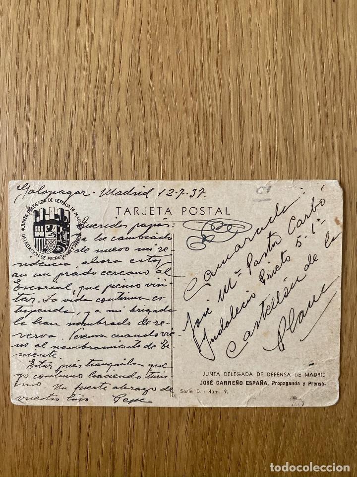 Postales: JOSE CARREÑO. Postal original guerra civil, edita JUNTA DELEGEDA DEFENSA DE MADRID, 1937 - Foto 2 - 180183606
