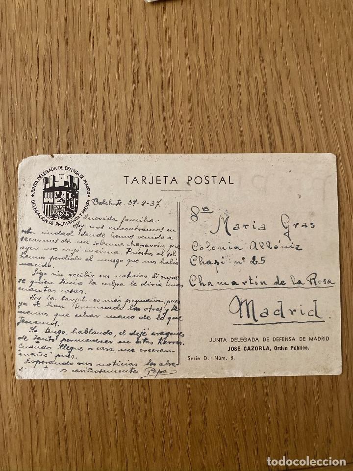 Postales: JOSE CAZORLA. POSTAL ORIGINAL GUERRA CIVIL, EDITA JUNTA DELEGEDA DEFENSA DE MADRID, 1937 - Foto 3 - 180185502