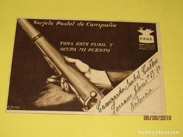 Postales: Tarjeta Postal de Campaña PSOE Agrupación Socialista Madrileña de Plena Guerra Civil - Vallecas 1937 - Foto 3 - 180502237