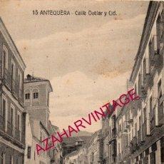 Postales: ANTEQUERA, CALLE OVELAR Y CID, CIRCULADA 1936, FRANQUICIA BANDERA VOLANTE MIXTA FALANGE SEVILLA. Lote 182215411