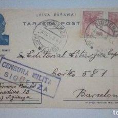 Postales: TARJETA POSTAL VIVA ESPAÑA FRANCO CENSURA MILITAR SIGUENZA 1939 CIRCULADA. Lote 184214813