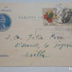 Postales: TARJETA POSTAL ALUSIVA A LA GUERRA CIVIL CENSURA MILITAR VITORIA VIVA FRANCO 1938 CIRCULADA . Lote 184269840