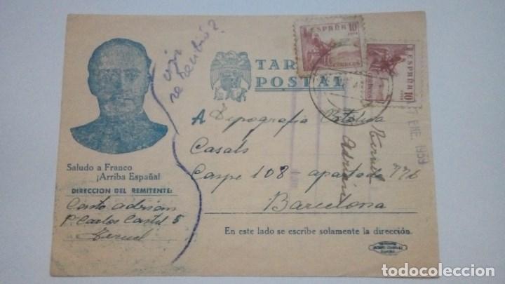 TARJETA POSTAL ALUSIVA A LA GUERRA CIVIL SALUDO A FRANCO ARRIBA ESPAÑA 1940 CIRCULADA (Postales - Postales Temáticas - Guerra Civil Española)