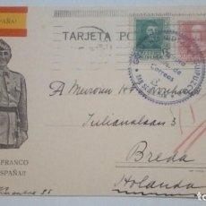 Postales: TARJETA POSTAL SALUDO A FRANCO ARRIBA ESPAÑA CON BANDERA 1939 CIRCULADA. Lote 184272347