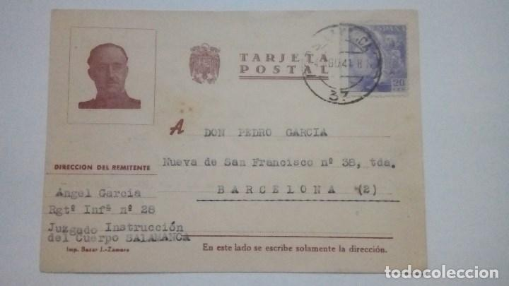 TARJETA POSTAL ALUSIVA A FRANCO IMP. BAZAR J. ZAMORA 1941 CIRCULADA (Postales - Postales Temáticas - Guerra Civil Española)