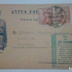 Postales: TARJETA POSTAL VIVA ESPAÑA VIVA FRANCO 1940 CIRCULADA. Lote 184354931
