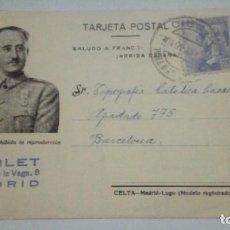 Postales: TARJETA POSTAL SALUDO A FRANCO ARRIBA ESPAÑA SELLO POBLET MADRID 1940 CIRCULADA. Lote 184362047