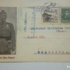 Postales: TARJETA POSTAL CENSURA MILITAR VIGO VIVA ESPAÑ VIVA FRANCO 1939 CIRCULADA. Lote 184362467