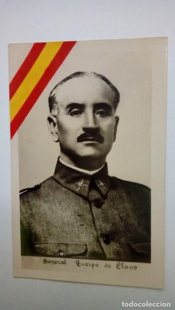 TARJETA POSTAL GENERAL QUEIPO DE LLANO CON BANDERA EN LA MISMA AÑOS 30 (Postales - Postales Temáticas - Guerra Civil Española)