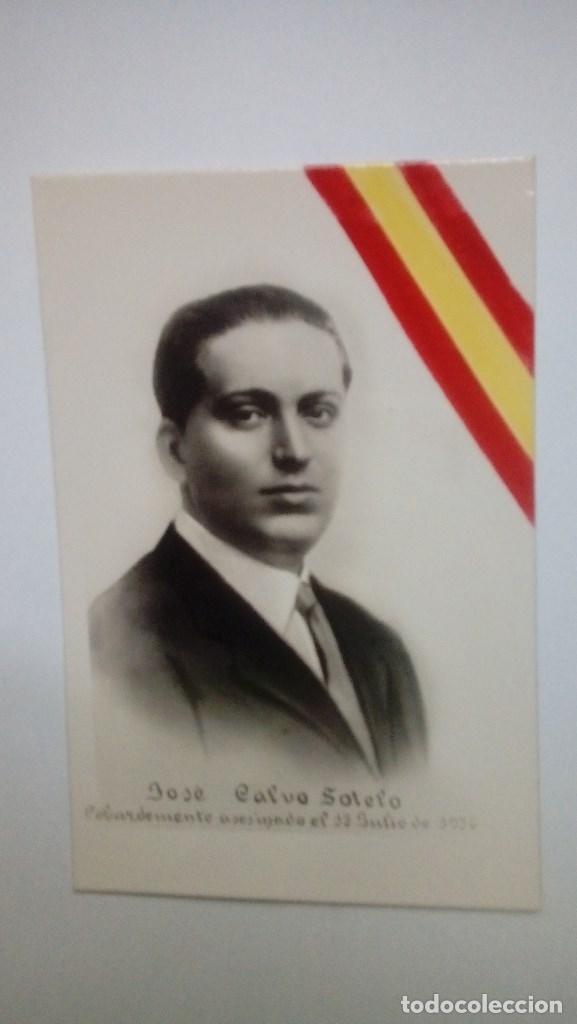 TARJETA POSTAL JOSE CALVO SOTELO COBARDEMENTE ASESINADO EL 13 DE JULIO DE 1936 CON BANDERA EN LA MIS (Postales - Postales Temáticas - Guerra Civil Española)