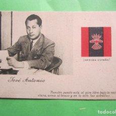 Postales: POSTAL JOSE ANTONIO PRIMO DE RIVERA , BANDERA FALANGE , COLOR. Lote 189754070
