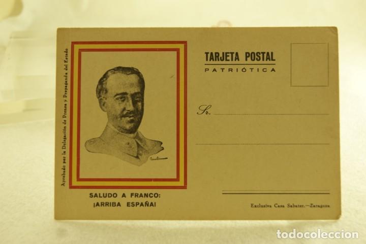 TARJETA POSTAL PATRIOTICA FRANCO ARRIBA A ESPAÑA SABATER ZARAGOZA (Postales - Postales Temáticas - Guerra Civil Española)