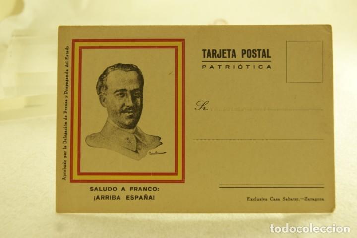 Postales: TARJETA POSTAL PATRIOTICA FRANCO ARRIBA A ESPAÑA SABATER ZARAGOZA - Foto 2 - 190710705