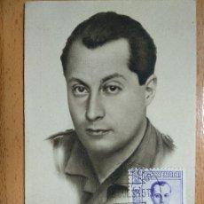 Postales: JOSE ANTONIO PRIMO DE RIVERA. FALANGE ESPAÑOLA. FOTO MARIN. SELLO BURGOS 1938.. Lote 193849587