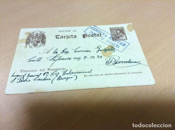 CENSURA MILITAR DE UN PRESO DEL CAMPO DE CONCENTRACION DE SAN PEDRO DE CARDEÑA 29 -6-1939 (Postales - Postales Temáticas - Guerra Civil Española)