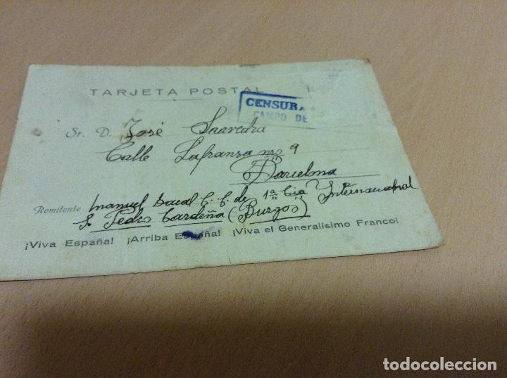 CENSURA MILITAR DE UN PRESO DEL CAMPO DE CONCENTRACION DE SAN PEDRO DE CARDEÑA 29 -4-1939 (Postales - Postales Temáticas - Guerra Civil Española)